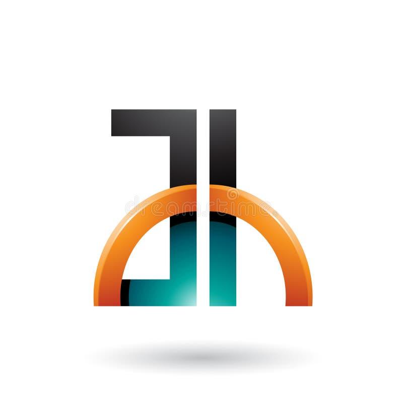 Orange und grüne Buchstaben A und H mit einem glatten Halbkreis lokalisiert auf einem weißen Hintergrund vektor abbildung