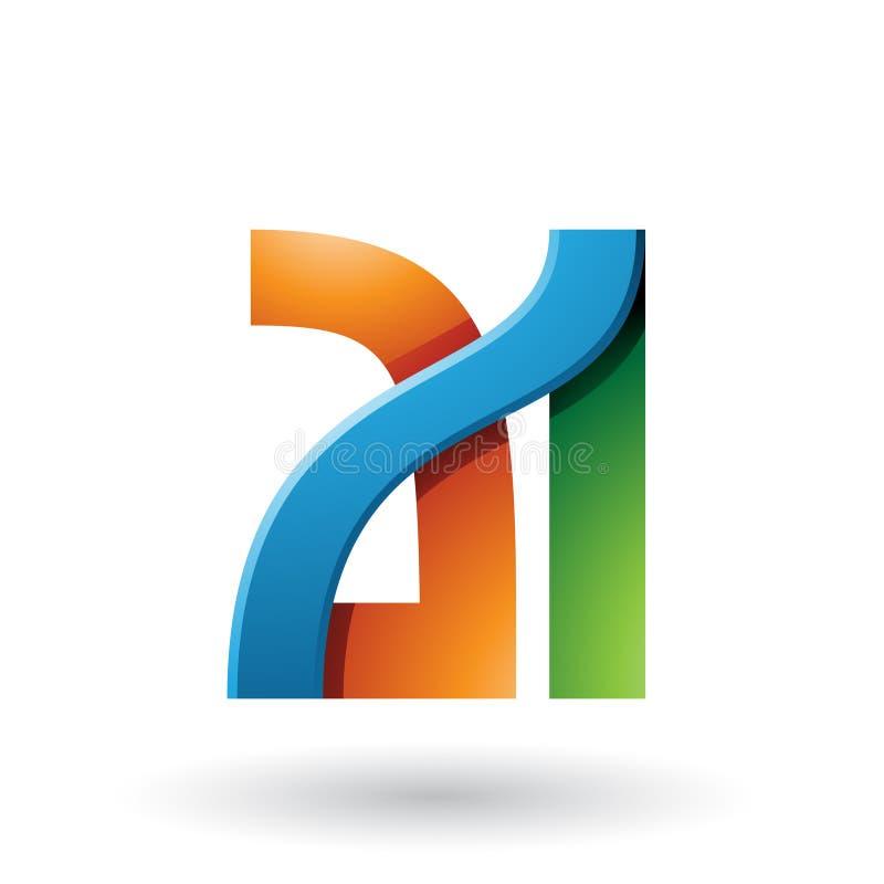 Orange und grüne mutige Doppelbuchstaben A und ich lokalisierten auf einem weißen Hintergrund lizenzfreie abbildung