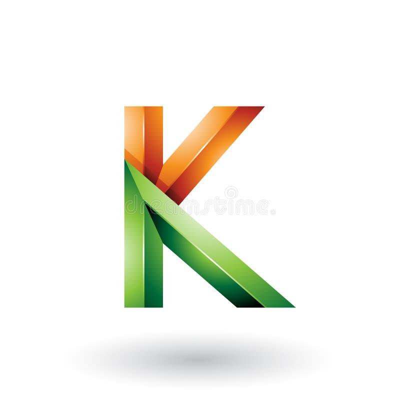 Orange und grüner glatter 3d geometrischer Buchstabe K lokalisiert auf einem weißen Hintergrund stock abbildung
