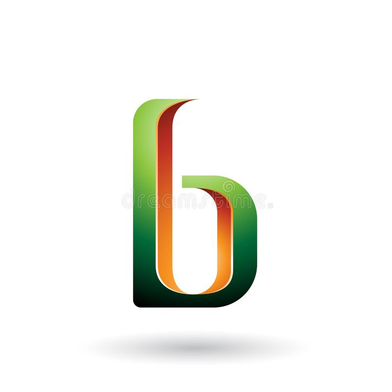 Orange und grüner schattierter Buchstabe B lokalisiert auf einem weißen Hintergrund vektor abbildung