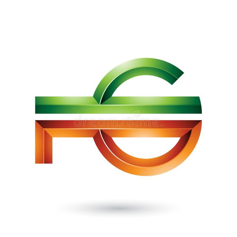 Orange und grünes abstraktes Schlüssel ähnliches Symbol lokalisiert auf einem weißen Hintergrund stock abbildung