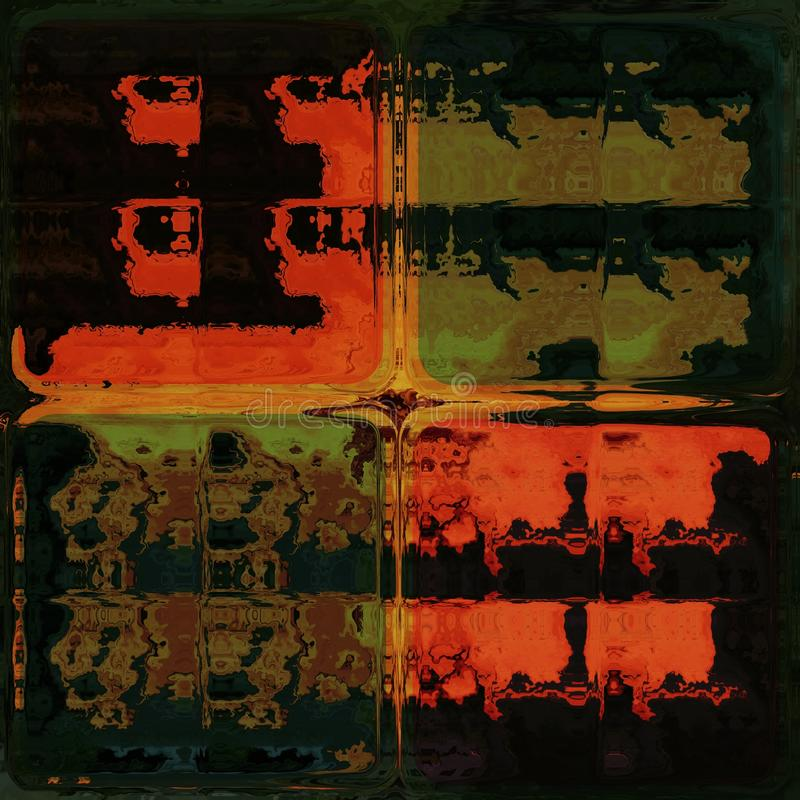 Orange und grünes Glänzen durch Glasbausteine vektor abbildung