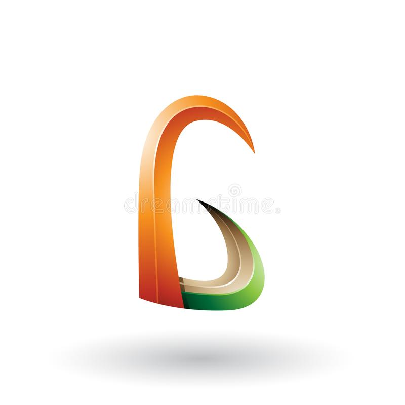 Orange und grünes Horn 3d wie Buchstabe G lokalisiert auf einem weißen Hintergrund vektor abbildung