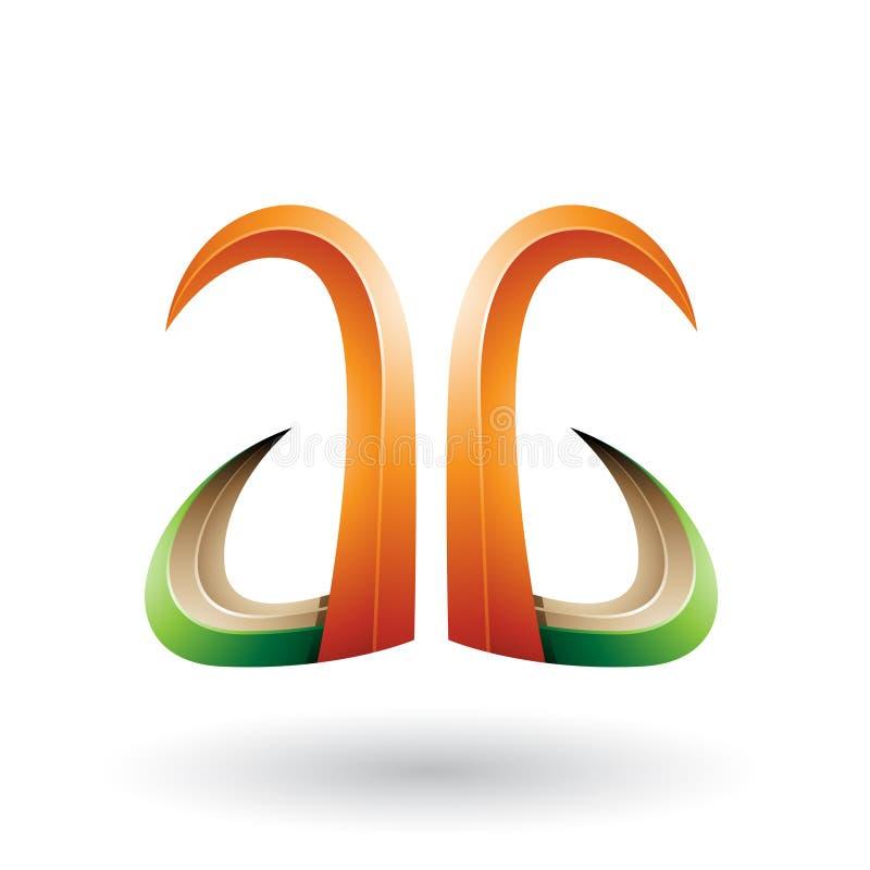 Orange und grünes Horn 3d wie Buchstabe A und G lokalisiert auf einem weißen Hintergrund vektor abbildung