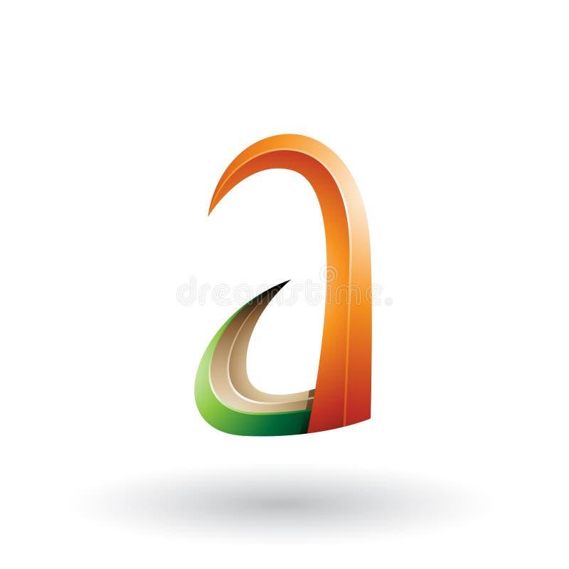 Orange und grünes Horn 3d wie Buchstabe A lokalisiert auf einem weißen Hintergrund vektor abbildung