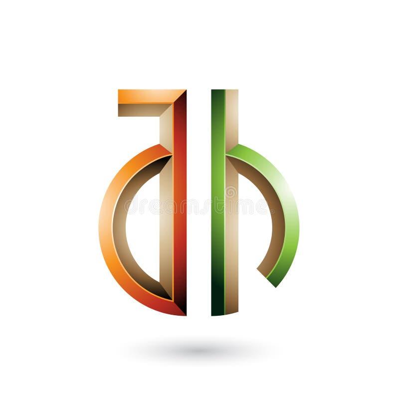 Orange und grünes Schlüssel ähnliches Symbol von Buchstaben A und H lokalisiert auf einem weißen Hintergrund vektor abbildung