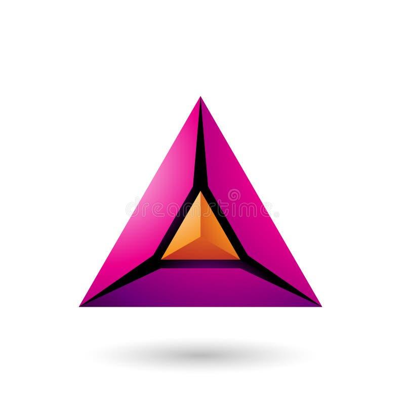Orange und magentarote Ikonen-Vektor-Illustration der Pyramiden-3d lizenzfreie abbildung