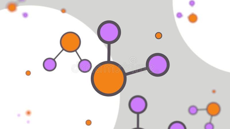 Orange und magentarote Molekülmodelle Einfache Karikaturabbildung vektor abbildung