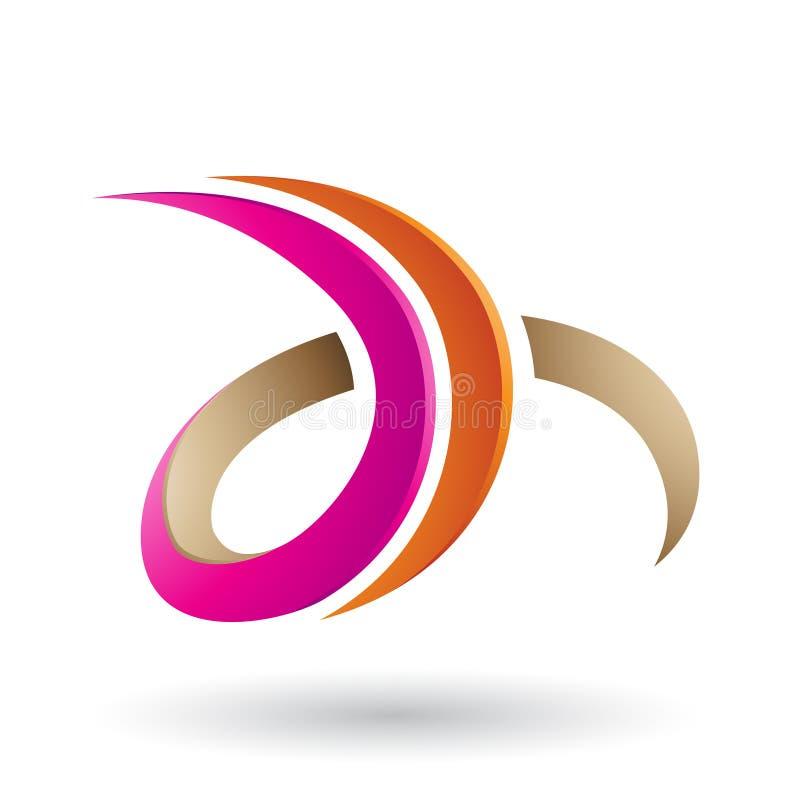 Orange und magentaroter 3d gelockter Buchstabe D und H lokalisiert auf einem weißen Hintergrund lizenzfreie abbildung