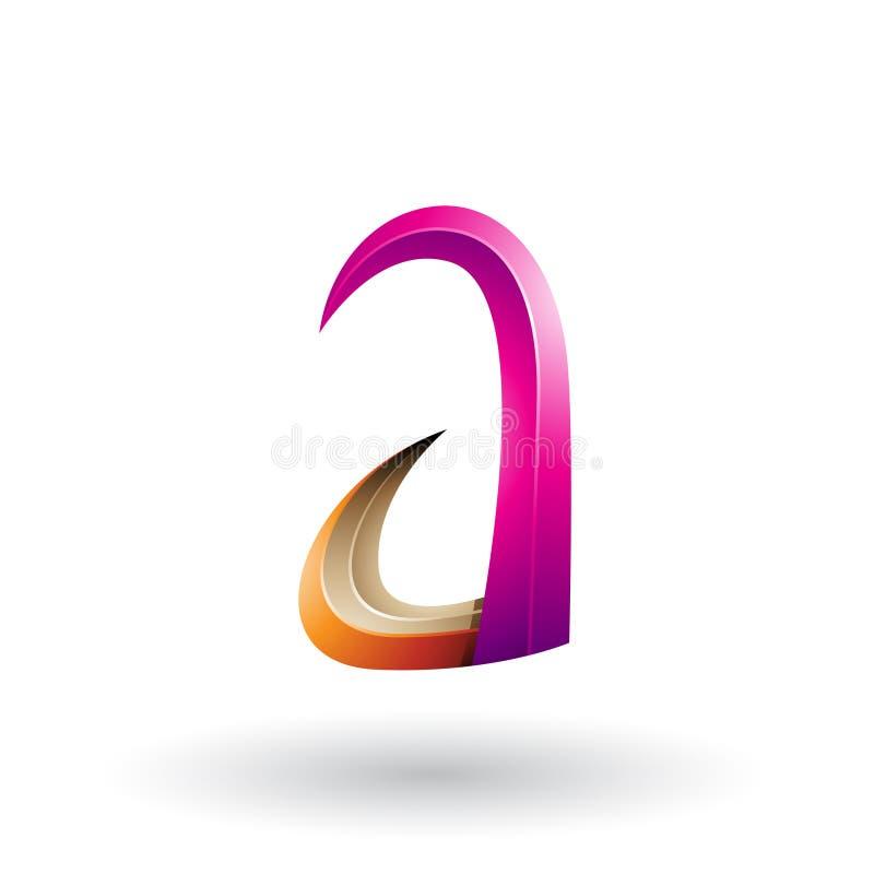 Orange und magentarotes Horn 3d wie Buchstabe A lokalisiert auf einem weißen Hintergrund stock abbildung