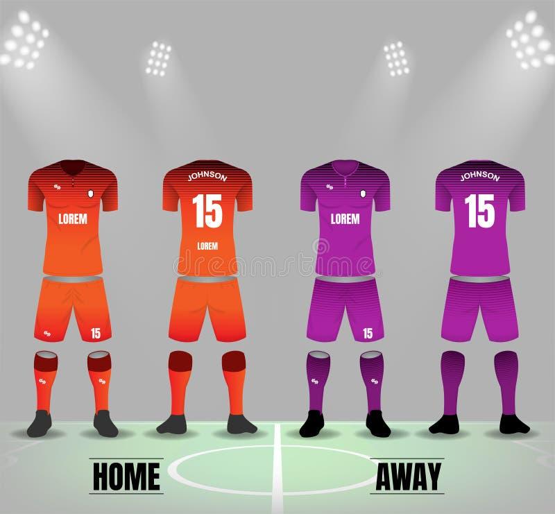 Orange und purpurrote Fußballuniformen in der vorderen und Rückseite mit SH vektor abbildung