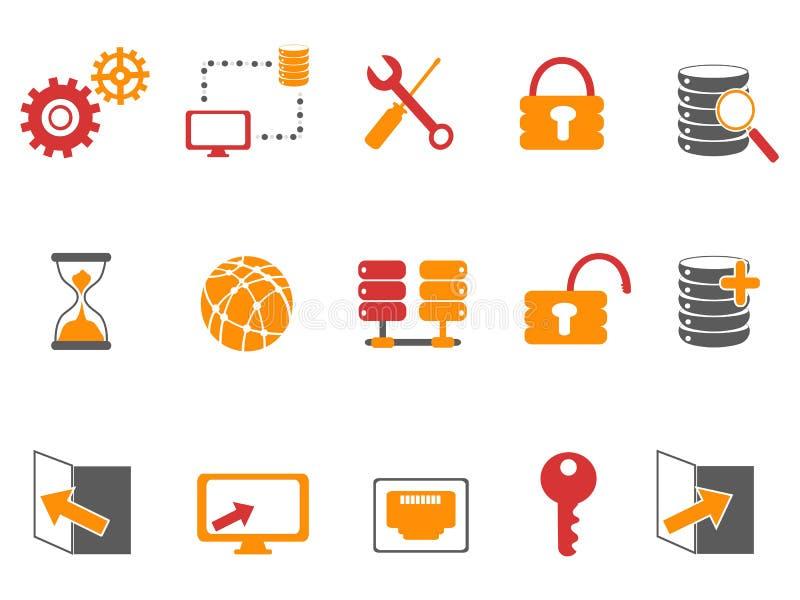 Orange und rote Farbdatenbanktechnologieikonen eingestellt lizenzfreie abbildung