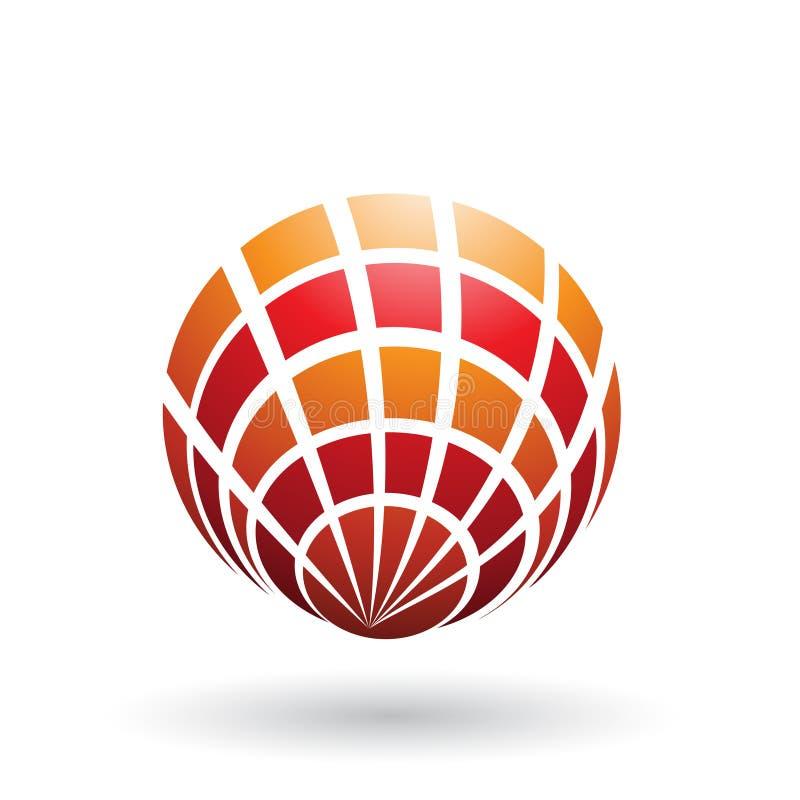 Orange und rote Shell Like Round Icon lokalisiert auf einem weißen Hintergrund vektor abbildung