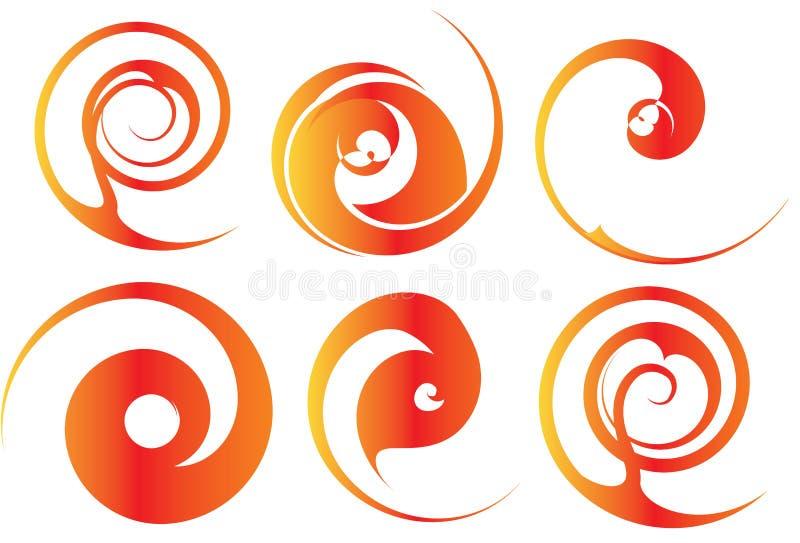 Orange und rote Spiralen stock abbildung