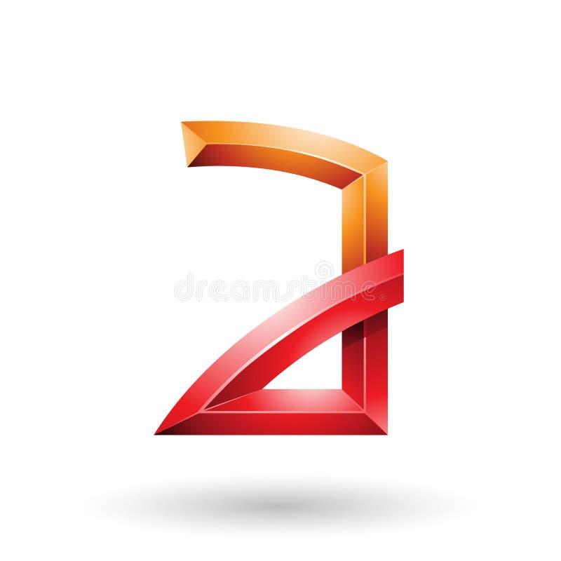 Orange und roter prägeartiger Buchstabe A mit den verbogenen Gelenken lokalisiert auf einem weißen Hintergrund stock abbildung