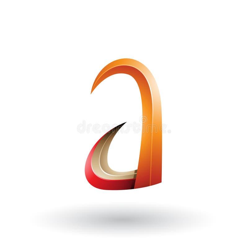 Orange und rotes Horn 3d wie Buchstabe A lokalisiert auf einem weißen Hintergrund stock abbildung