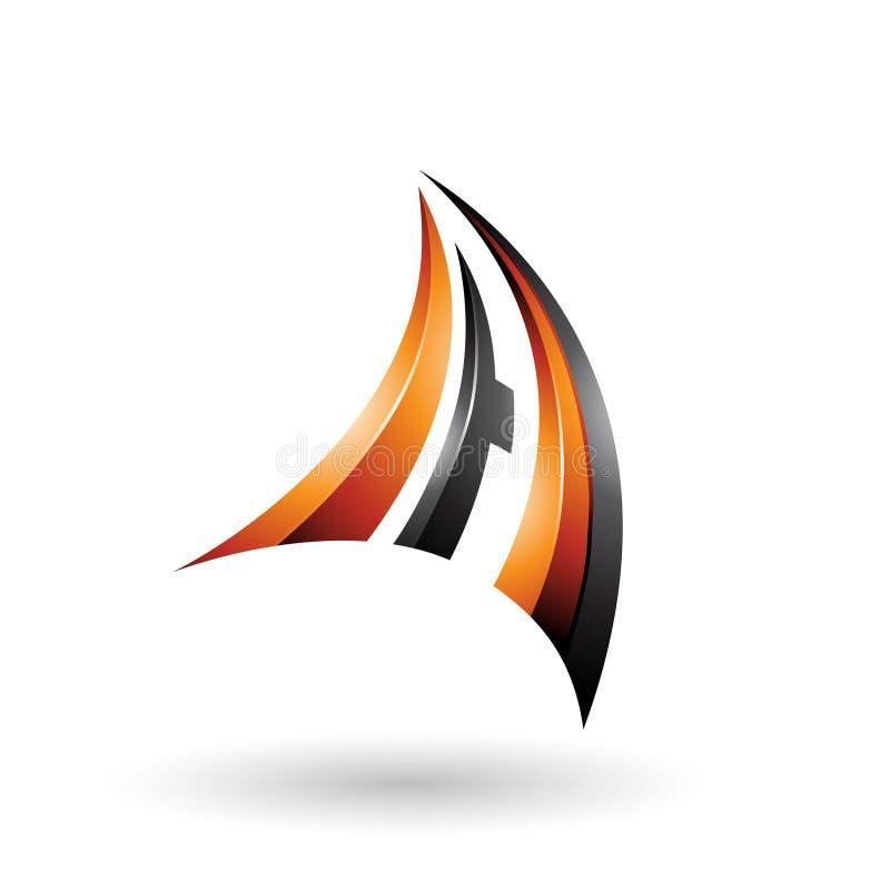 Orange und schwarzer dynamischer Buchstabe A des Fliegen-3d lokalisierte auf einem weißen Hintergrund lizenzfreie abbildung