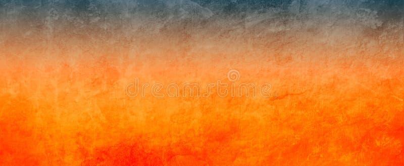 Orange und schwarzer Hintergrund mit beunruhigter Schmutzbeschaffenheit, mutige drastische heiße Farben vektor abbildung