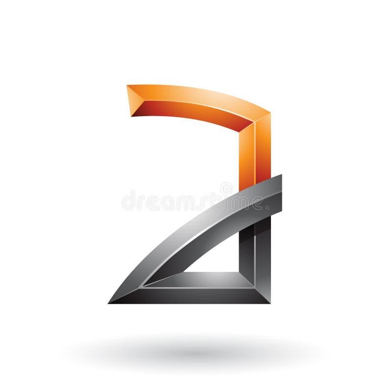Orange und schwarzer prägeartiger Buchstabe A mit den verbogenen Gelenken lokalisiert auf einem weißen Hintergrund lizenzfreie abbildung