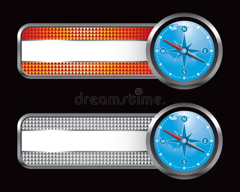 Orange und silberne checkered Tabulatoren mit blauem Kompaß stock abbildung