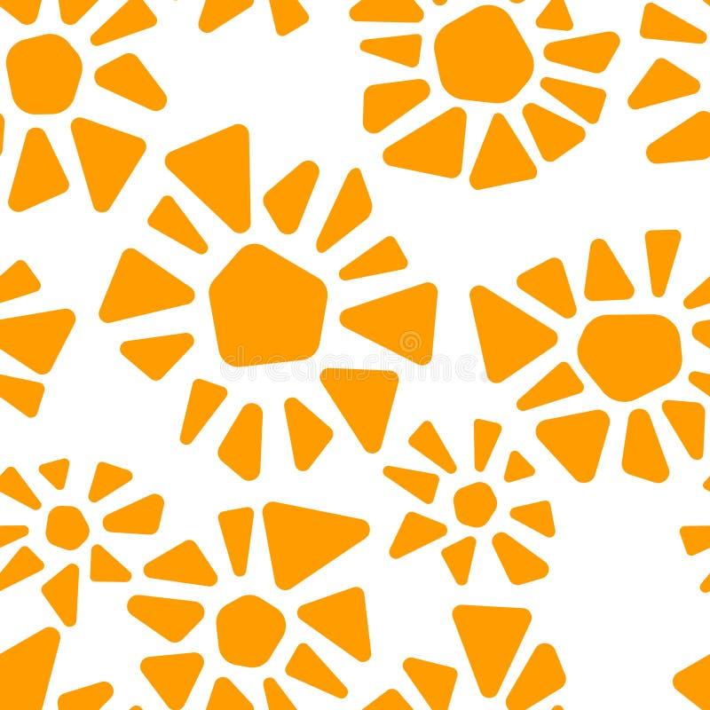 Orange und weiße bunte Buntglasdreieckform blüht geometrisches nahtloses Muster des Mosaiks, Vektor stock abbildung