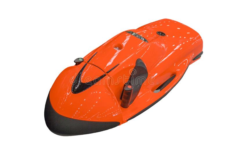Orange underwater scooter seabob isolated on white background. Equipment for scuba diving to better dive with less energy exertion.  royalty free stock photo