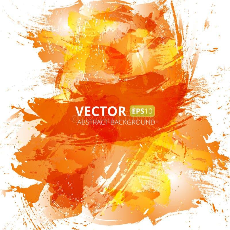 Orange vattenfärgbakgrund för abstrakt vektor royaltyfri illustrationer