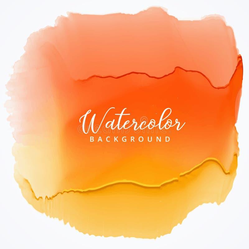 orange vattenfärgfläck med stekflotteffekt stock illustrationer