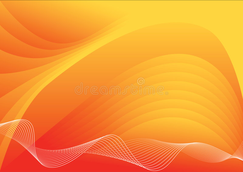 Orange vector background. Red and orange vector background with waves royalty free illustration