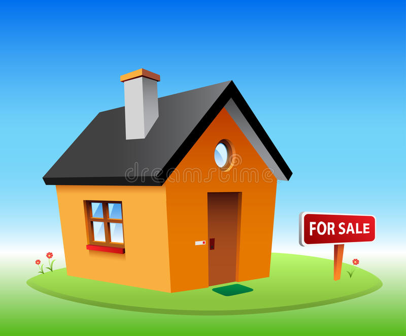 Orange vector house royalty free illustration