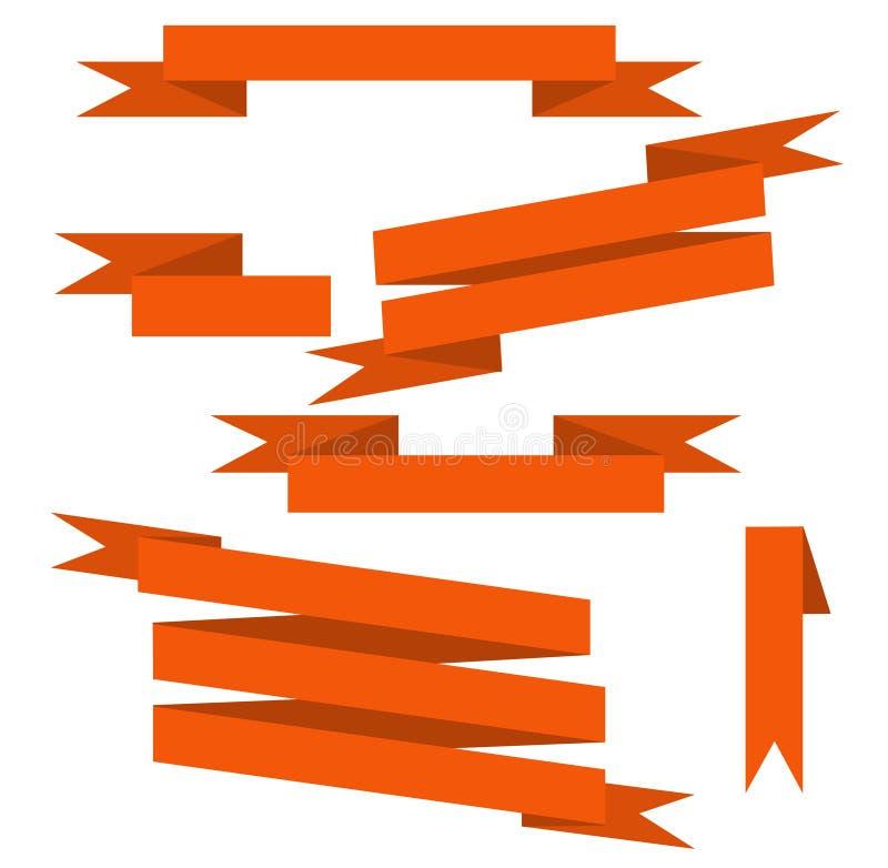 Orange vektorbanduppsättning royaltyfri illustrationer