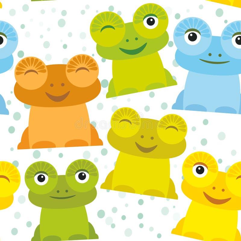 Orange vert-bleu jaune figée de grenouille drôle mignonne de bande dessinée sur le fond blanc, modèle sans couture Vecteur illustration libre de droits