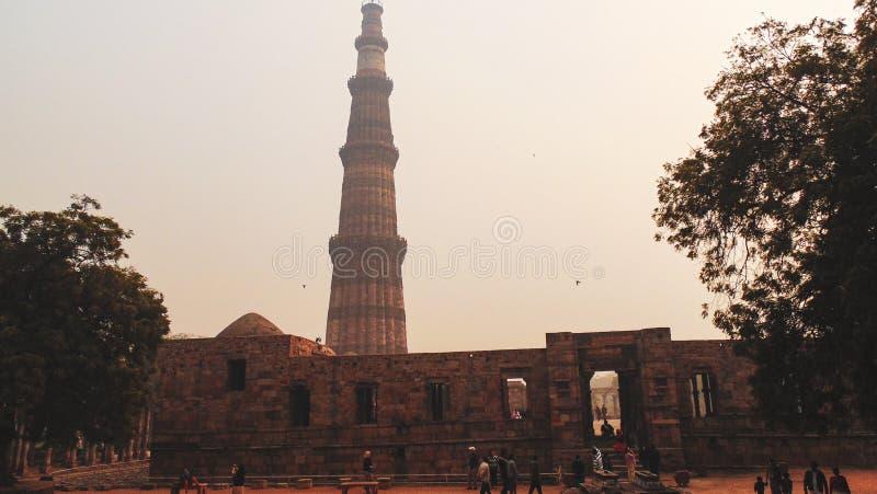 Qutub Minar tower in Delhi, India stock photo