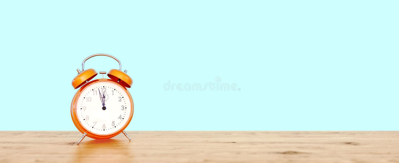Orange vintage clock on teal background showing nearly 12, last minute concept. 3D Rendering stock illustration
