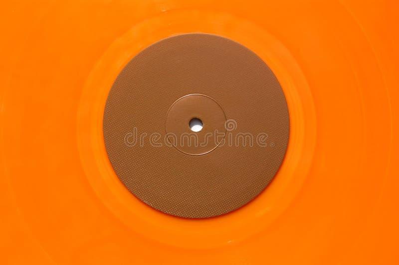 Orange vinyl music record stock photo