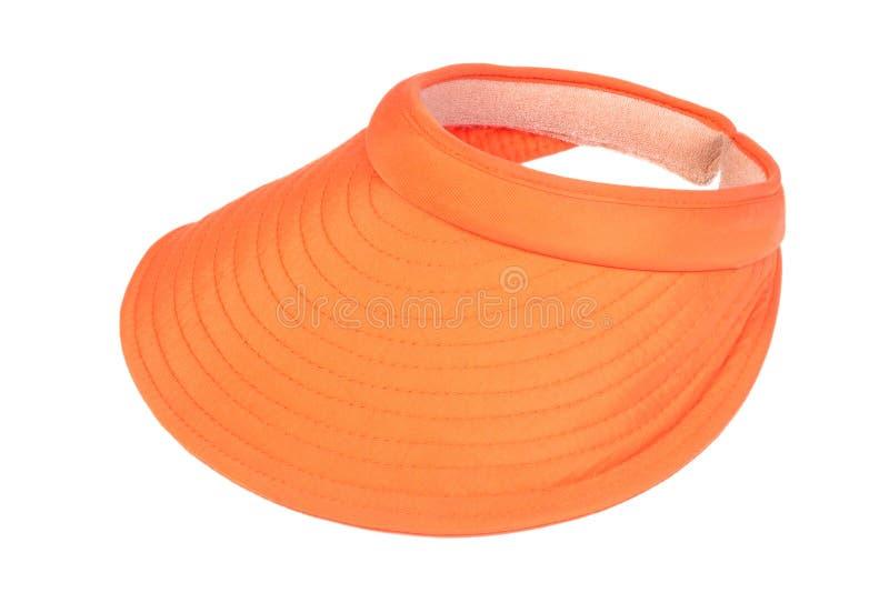Orange visor. Isolated on a white background stock photo