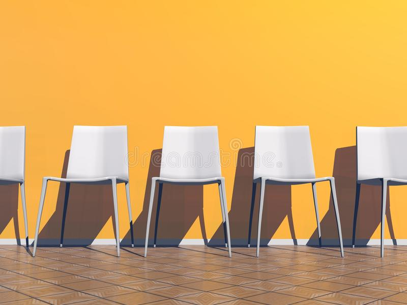 Orange waiting room - 3D render royalty free illustration