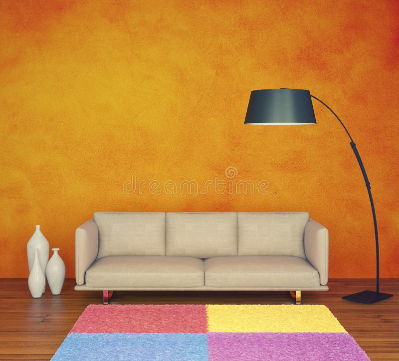 Orange wall vector illustration