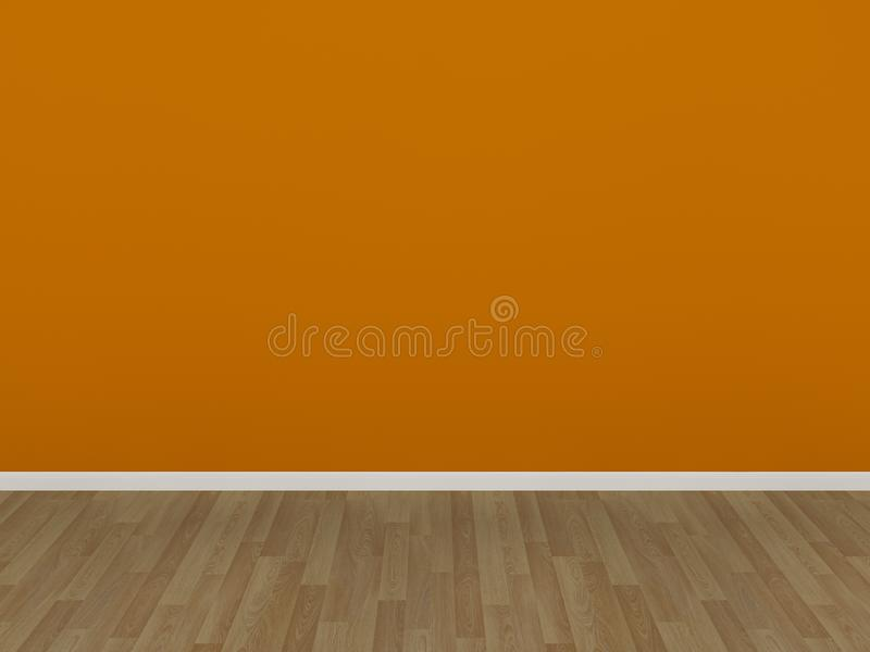 Download Orange Wall And Wood Floor In A Empty Room Stock Illustration - Image: 36744563