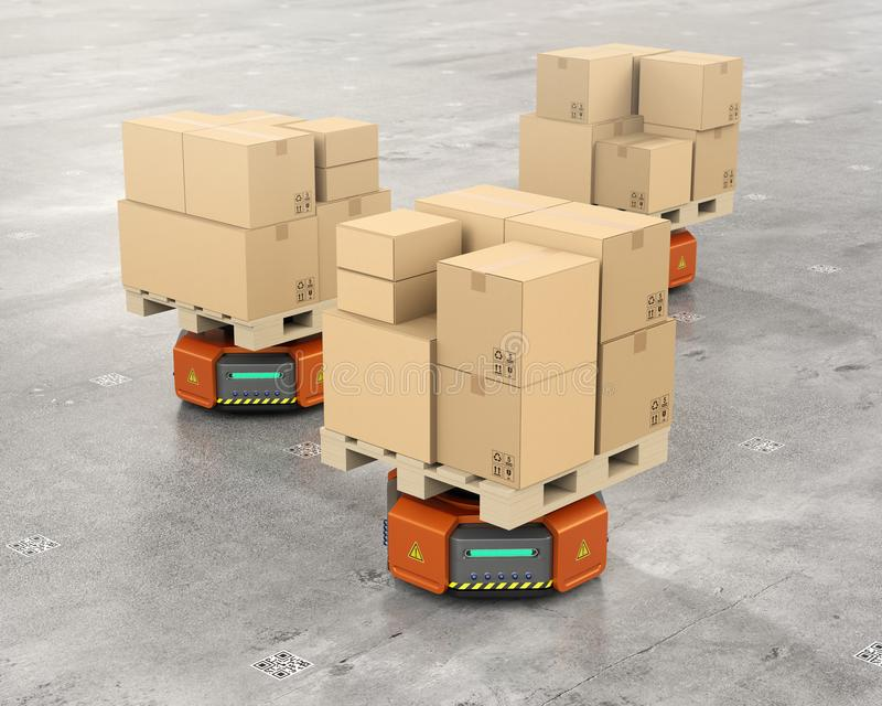 Orange warehouse robot carriers carrying cardboard boxes stock illustration