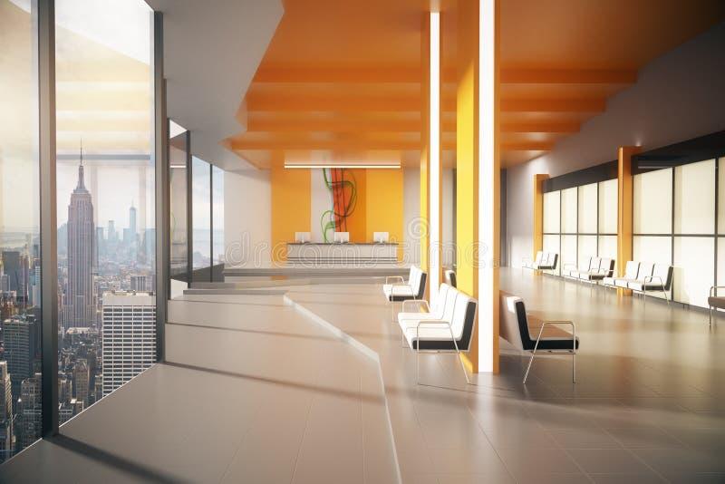 Orange Wartebereich mit NY-Ansicht lizenzfreie abbildung