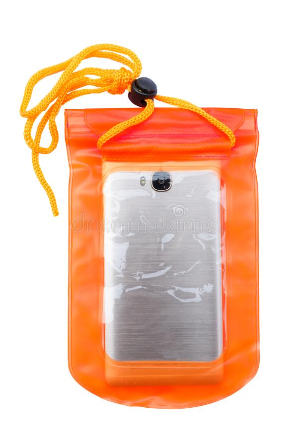 Orange wasserdichter Handykasten lokalisiert auf wei?em Hintergrund PVC-Zipverschlusstasche Handy und wichtige Punkte vor w sch?t stockfotografie