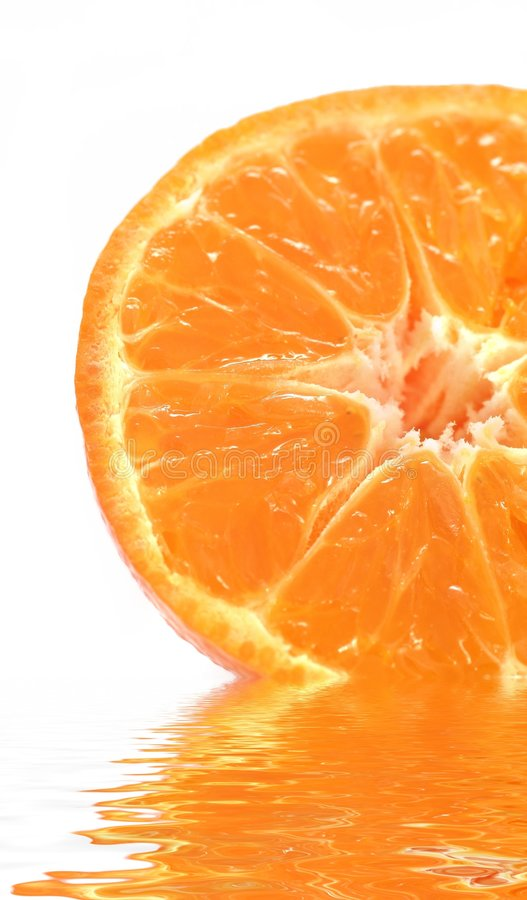 Orange on water stock photography
