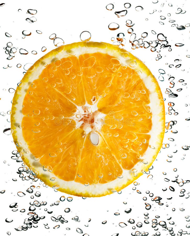 The orange in water royalty free stock photography