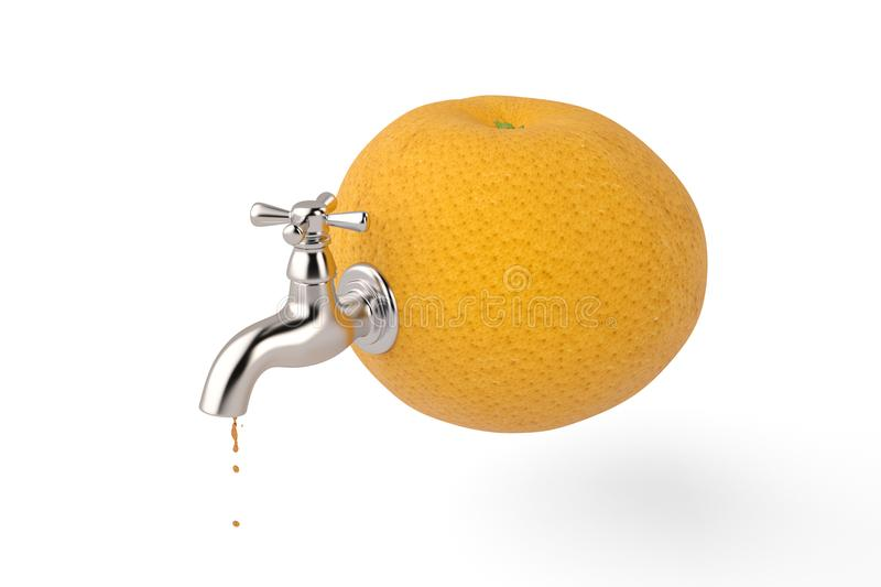 Orange and water tap on white background 3D illustration. Orange and water tap on white background 3D illustration stock illustration