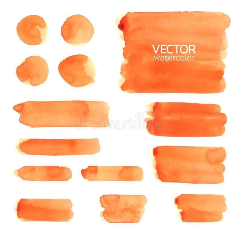 Orange watercolor brush strokes. Set of Vector brush. Orange watercolor brush strokes. Vector brush stroke for design royalty free illustration