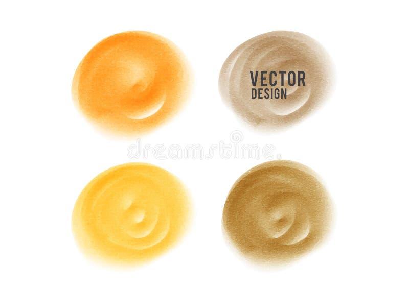 Orange watercolor circle paint, Grunge circle, icon design, Hand drawn design elements, vector brush strokes. Sale banner stock illustration
