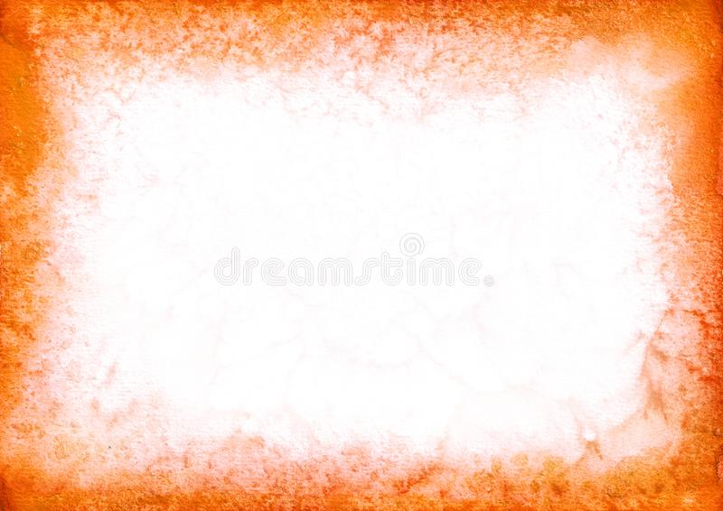 Orange watercolor frame background for your design. Hand drawn texture. stock illustration
