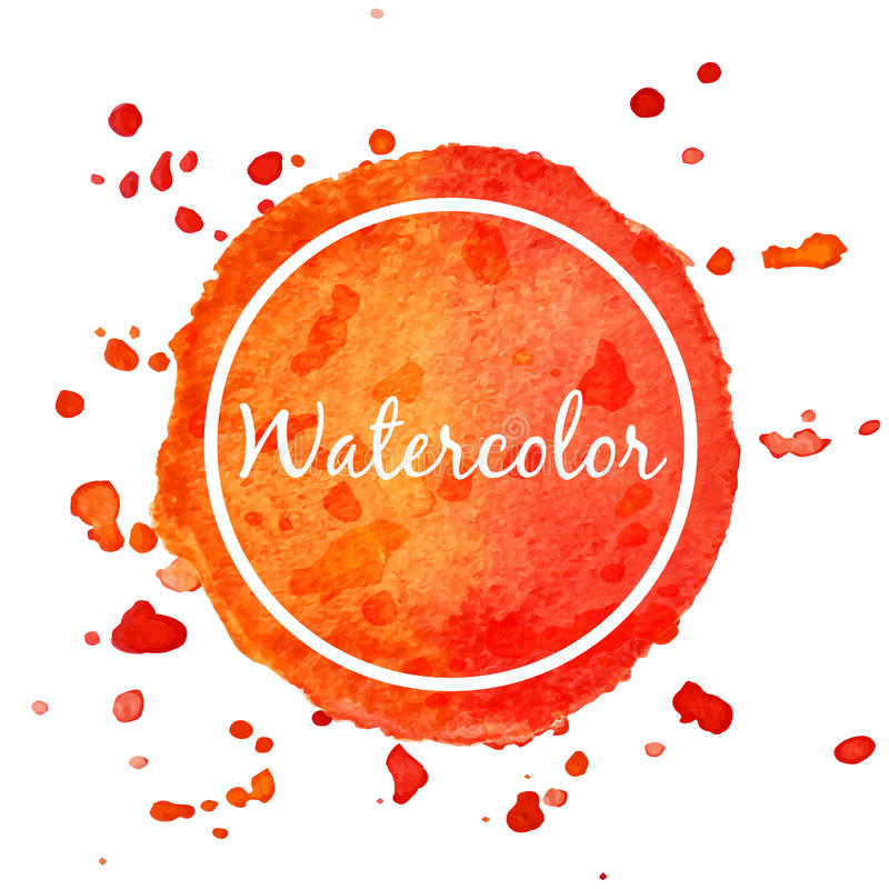 Orange watercolor splash circle background royalty free illustration