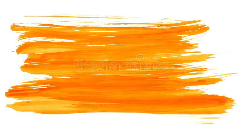 Orange watercolor strips isolated on white texture paper. illustration for design cover, label. Wedding illustration stock image